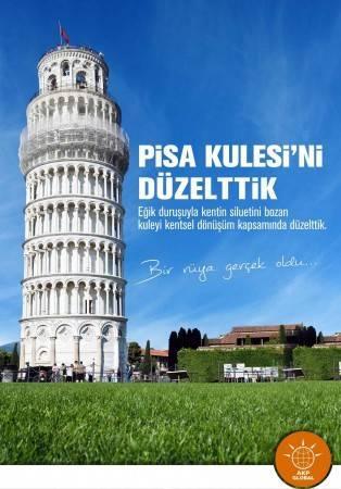 """Twitter'da yeni bir fenomen var. Twitter'da faaliyete giren AKP Global grubu, kısa sürede binlerce takipçi kazandı.  """"AKP Türkiye içinde yaptıklarını global boyutlarda yapsaydı ne olurdu?"""" sorusuna çok güzel yanıt veren ekibin çalışmalarından ilk örnekler burada.  Sizin favoriniz hangisi? AKP Global @akpglobal şöyle diyor: Dünya çapındaki hizmet ve icraatlarımızı buradan takip edebilirisiniz. Çünkü biz şehirciliğe yeni ve küresel bir paradigma kazandırdık. Pisa'nın kangren olmuş problemine çözüm ürettik. Kentin siluetini bozan yamuk kuleyi düzelttik."""