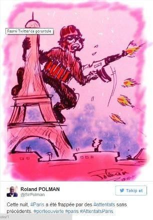 Dünyanın dört bir yanından Paris Katliamı'nı kınayan çizimler paylaşılmaya devam ediyor.