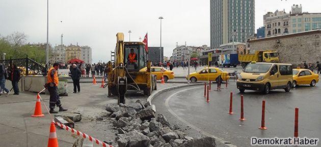 1 Mayıs öncesi Taksim'de inşaat başladı