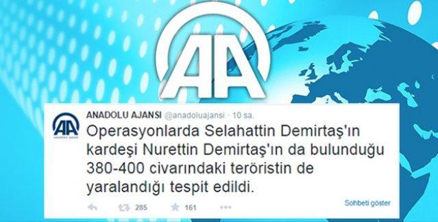 AA'da kaynak yok, 'bolca' rakam var: 260'ın üzerinde PKK'lı öldürüldü, 380-400 civarında yaralı var