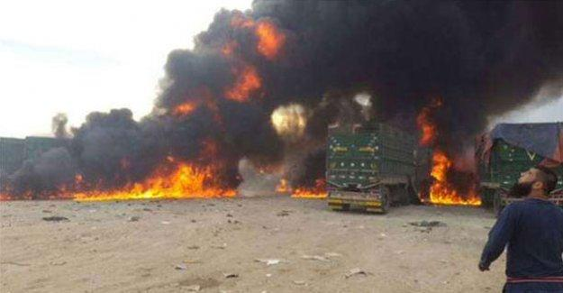 Suriye'ye giden TIR'lar havadan bombalandı