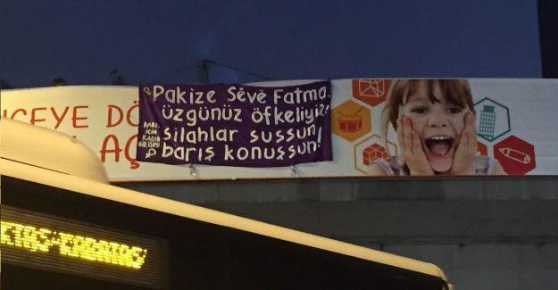 Kadınlar, Silopi'de öldüren üç kadın siyasetçi için Zincirlikuyu'da köprüye pankart astı