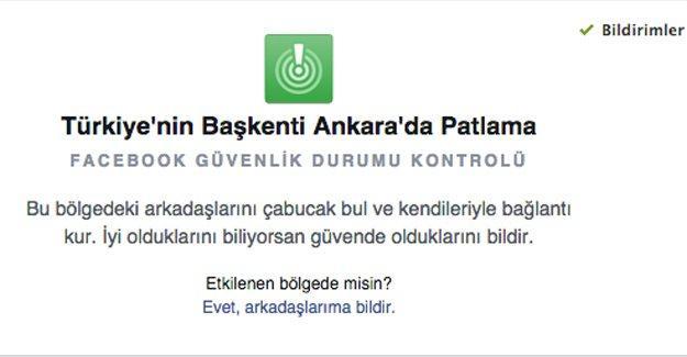 """Facebook'tan Ankara'daki saldırı için """"Güvendeyim"""" butonu"""
