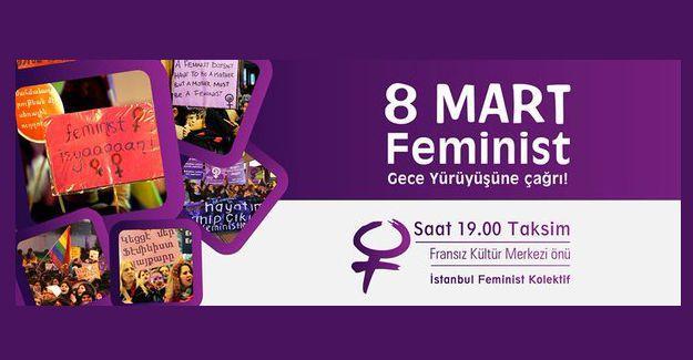 14. Feminist Gece Yürüyüşü 19.00'da Taksim'de