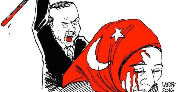 Latuff, Zaman'ın önündeki protestoyu çizdi