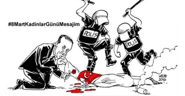 Latuff'tan, 8 Mart'ta Erdoğan'a gönderme