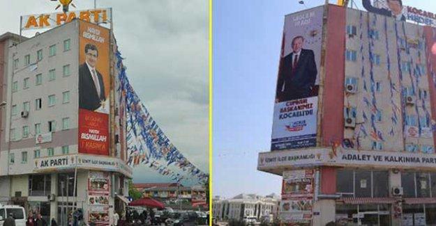 Davutoğlu kaldırıldı, 'Cumhur' ve 'Başkanımız' yazılı Erdoğan afişi konuldu
