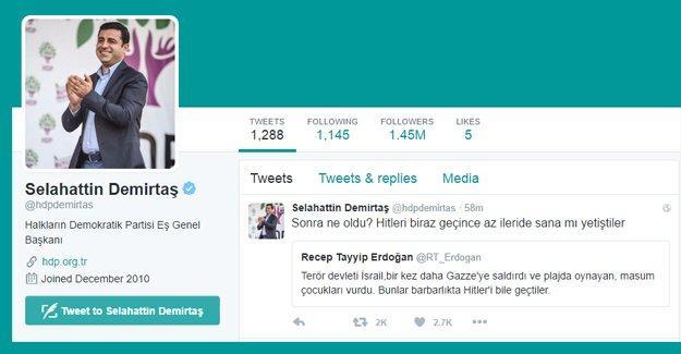 """Demirtaş'tan Erdoğan'a: """"Hitler'i biraz geçince az ileride sana mı yetiştiler"""""""