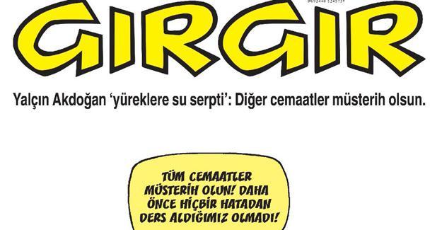 Gırgır, Yalçın Akdoğan'ın cemaat açıklamalarını kapağına taşıdı