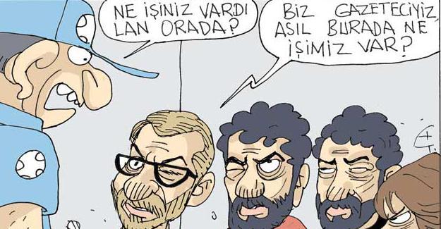 Sefer Selvi gözaltına alınan gazetecileri çizdi
