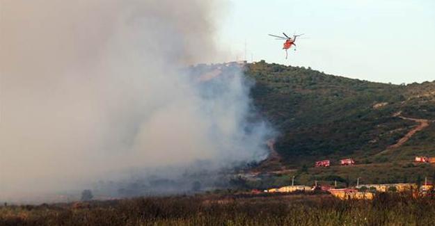 Tuzla'da askeri bölgede yangın