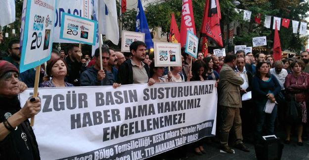 Ankara'da basın özgürlüğü protestosu