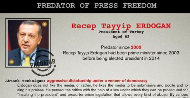 RSF Erdoğan'ı basın özgürlüğü düşmanları listesine aldı