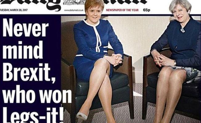 Kadın başbakanlarla ilgili 'bacak' manşetine tepki