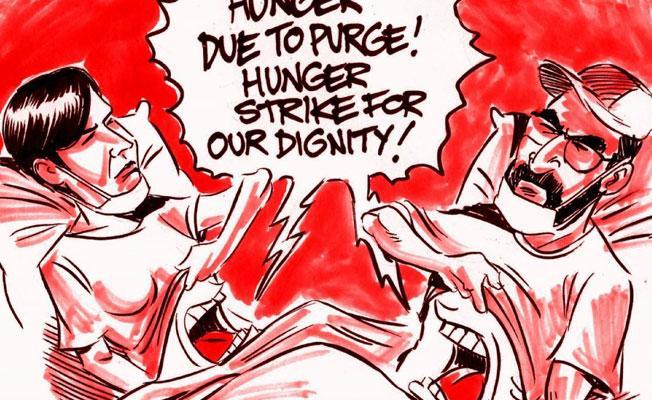 Latuff Nuriye Gülmen ve Semih Özakça'yı çizdi: Onurumuz için açlık grevindeyiz