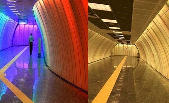 Boğaziçi metro durağının gökkuşağı renkleri, tek renge dönüştürüldü