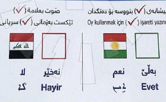 'Bağımsız Kürdistan' referandumu için 4 dilde oy pusulası