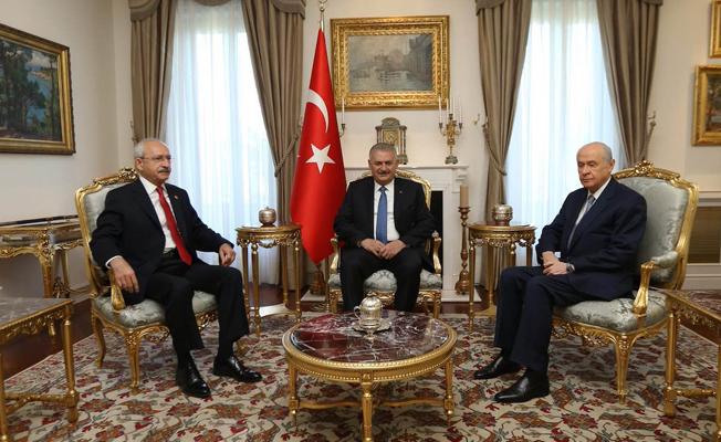 Yıldırım, Bahçeli ve Kılıçdaroğlu'ndan tezkere buluşması