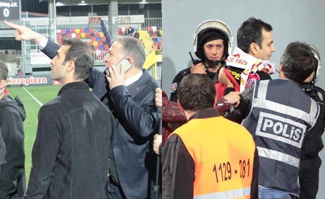 Göztepe-Beşiktaş maçında sahaya giren Emniyet Müdürü, taraftarları gözaltına aldırdı
