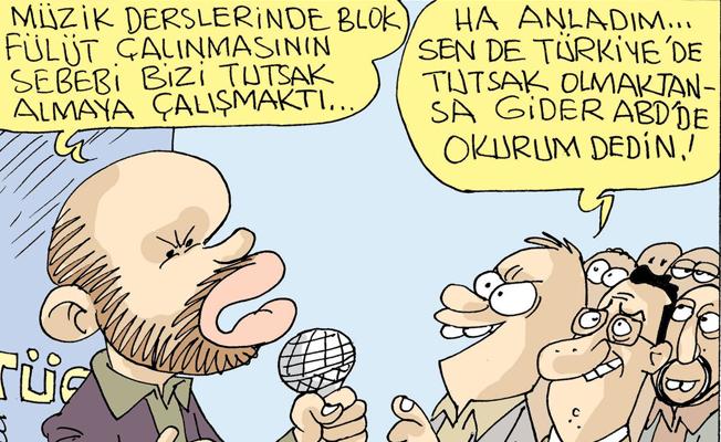 Sefer Selvi, ABD'de okuyan Bilal Erdoğan'ı çizdi