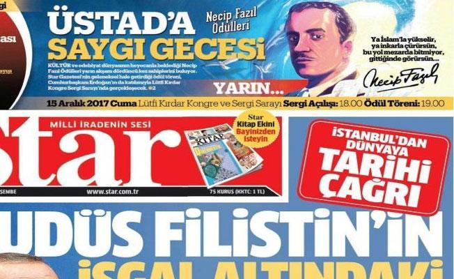 Star, Abdürrahim Karakoç dizelerinin altına Necip Fazıl imzası attı