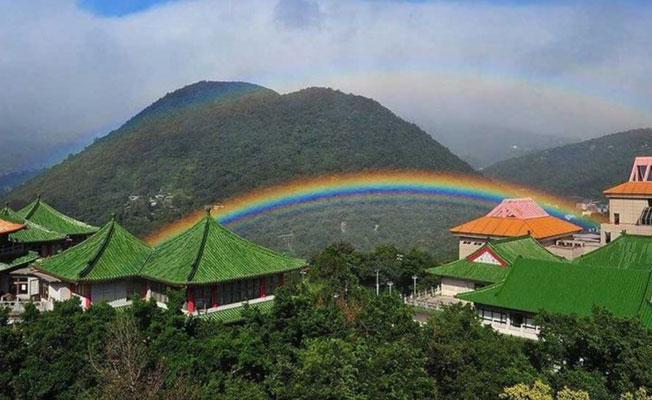 Taipei'nin dağlarında 9 saat süren gökkuşağı