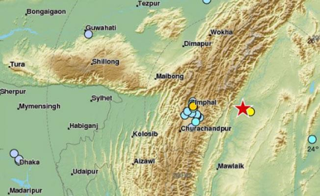 Hindistan-Myanmar sınırında 5.5 büyüklüğünde deprem