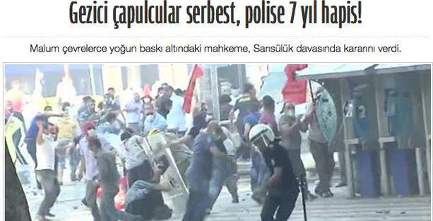 Akit: Gezici çapulcular serbest, polise 7 yıl hapis!