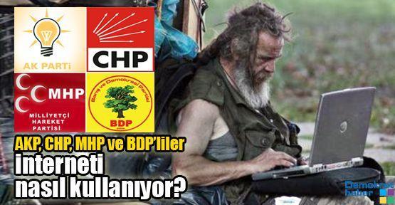 AKP, CHP, MHP ve BDP'liler interneti nasıl kullanıyor?