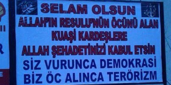 AKP'li belediyede katliamcı Kouachi kardeşlere 'selam' afişi