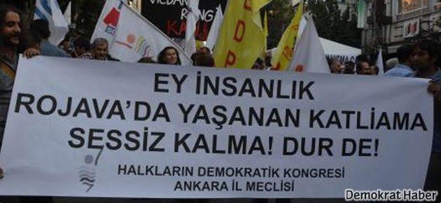 Ankara'da Rojava'ya destek yürüyüşü
