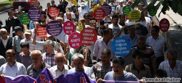 Diyarbakır'da erkekler tecavüze karşı yürüdü