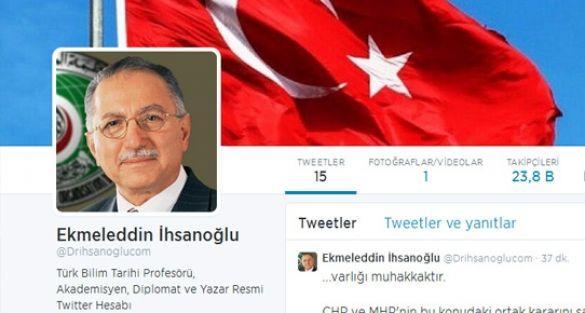 Ekmeleddin İhsanoğlu twitter hesabı açtı