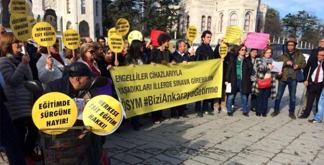 Engelli bireylerden ÖSYM protestosu