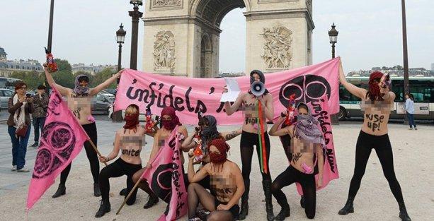 Femen, IŞİD'e karşı mücadele için tüm 'kâfirleri' birleşmeye çağırdı