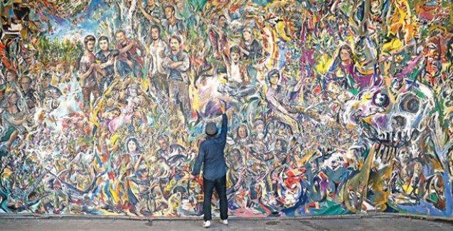 'Gezi ruhunu' resmeden 50 metrekarelik dev tablo tamamladı