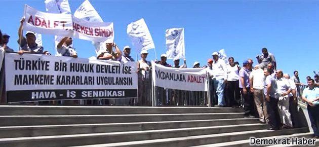 Hava-İş'ten İstanbul Adalet Sarayı önünde protesto