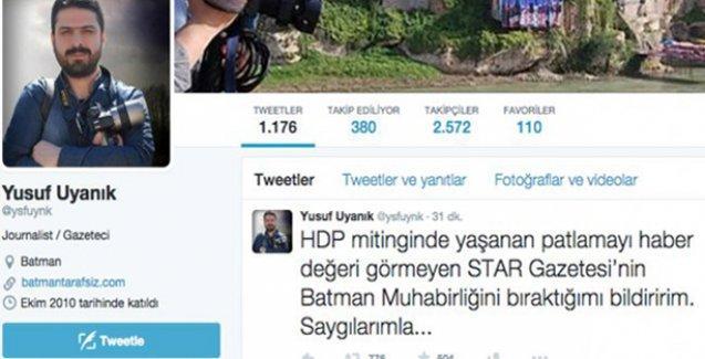 'HDP'ye saldırıyı haber değeri görmeyen gazetemden ayrıldım'