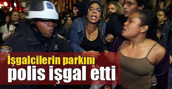 İşgalcilerin parkını polis işgal etti