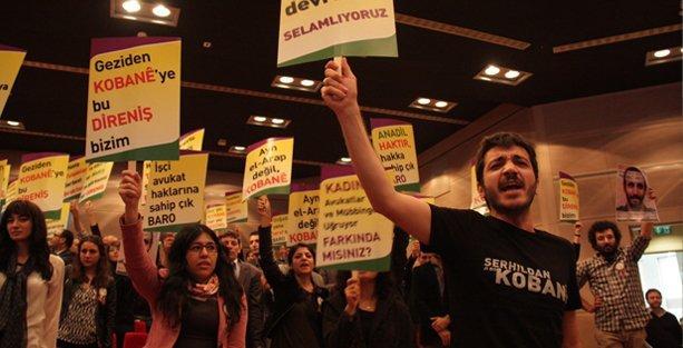 İstanbul Barosu genel kurulunda avukatlardan Kobani eylemi