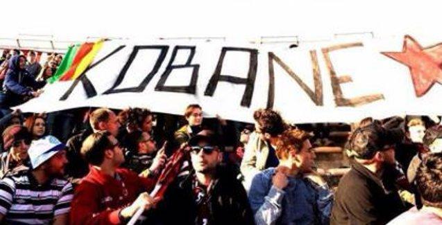 Livorno taraftarından Kobani pankartı