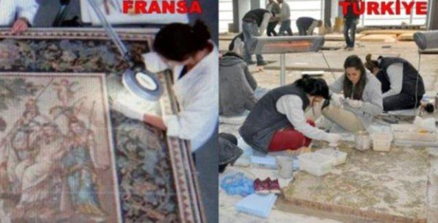 Mozaik restorasyonu Fransa'da böyle, Türkiye'de böyle