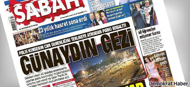 Sabah gazetesi 'Günaydın Gezi' manşetiyle çıktı