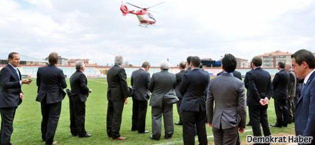Ambulans helikopterle seçim çalışması!