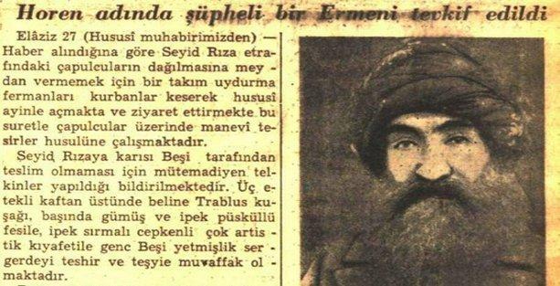 Dönemin gazetelerinde Seyit Rıza için Ermeni iması
