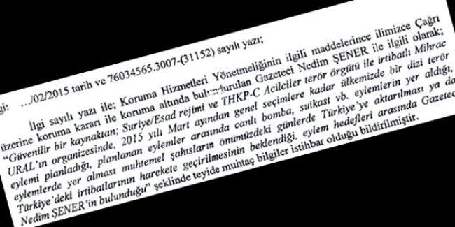 Şık'ın ardından Nedim Şener'e de 'suikast' mektubu