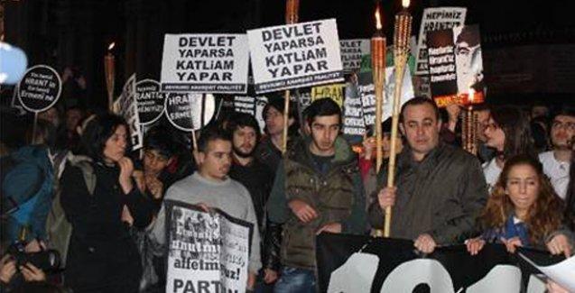 Taksim'de Hrant Dink anma yürüyüşü