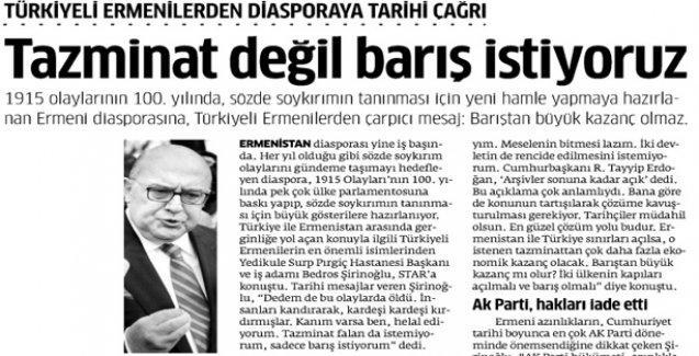 Türkiyeli Ermeniler Bedros Şirinoğlu'nun 1915 açıklamasına tepkili