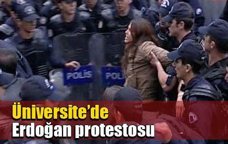 Üniversite'de olaylı Erdoğan protestosu