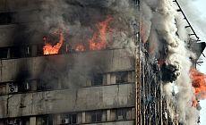 Tahran'da yanan 17 katlı bina çöktü